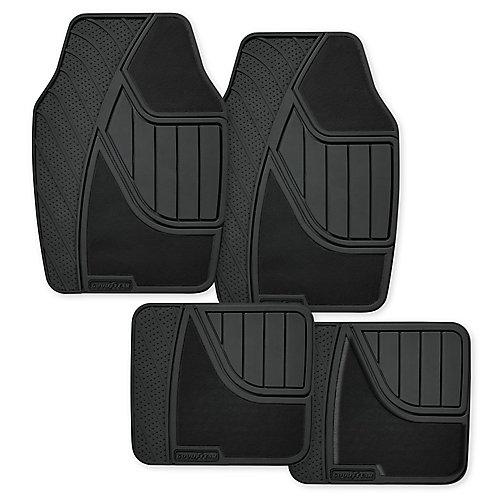 Premium 4-Piece Carpet and Rubber Car Mat - BLK