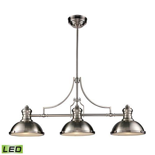 Chadwick 3-Light Billiard/Island Light In Satin Nickel - LED