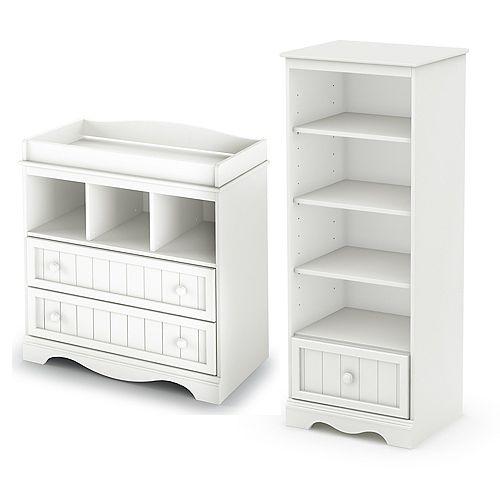 Table à langer et étagère avec tiroir, Blanc solide, collection Savannah