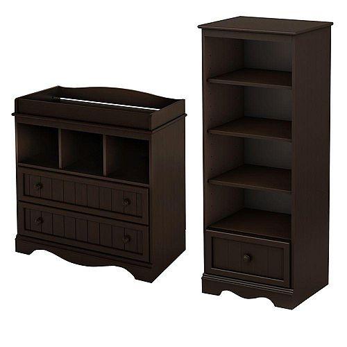 Table à langer et étagère avec tiroir, Espresso, collection Savannah