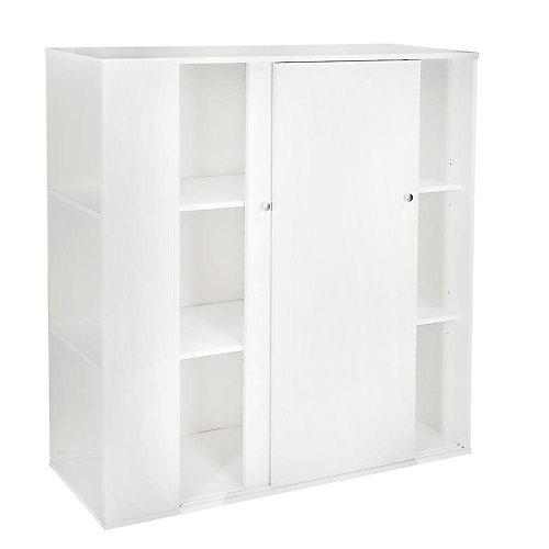 Meuble de rangement avec portes coulissantes, Blanc solide, collection Storit