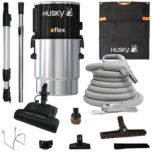 Aspirateur central flex, 651 air watts avec accessoires et balai électrique pour tapis
