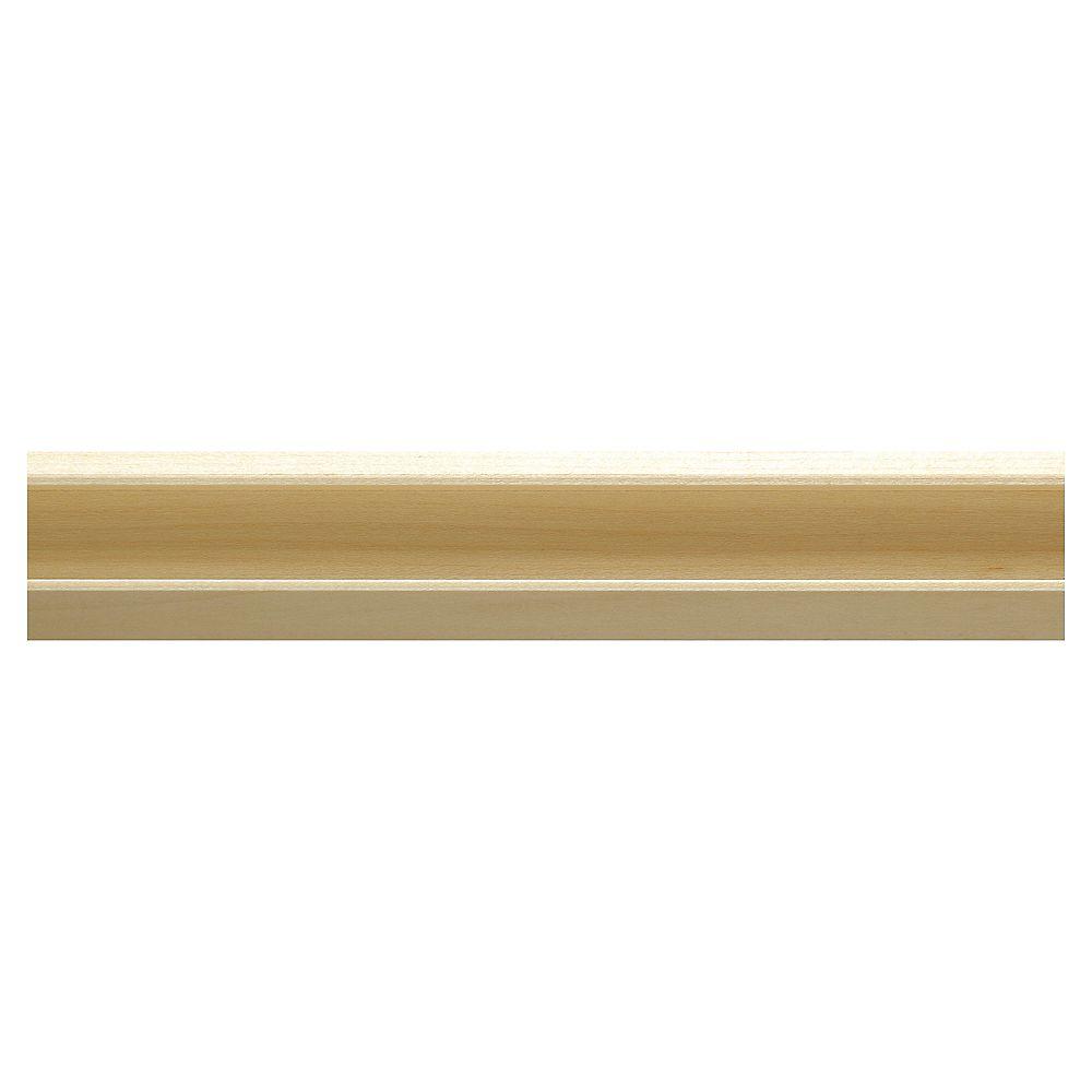 Ornamental Mouldings Moulure dencadrement rainurée à lavant en bois dur blanc - 3/4 x 1 1/2 x 48 pouces