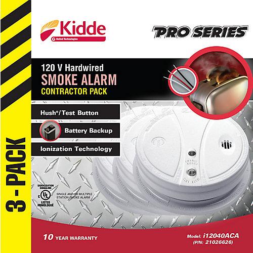 Hardwired Ionization Smoke Alarm (3-Pack)