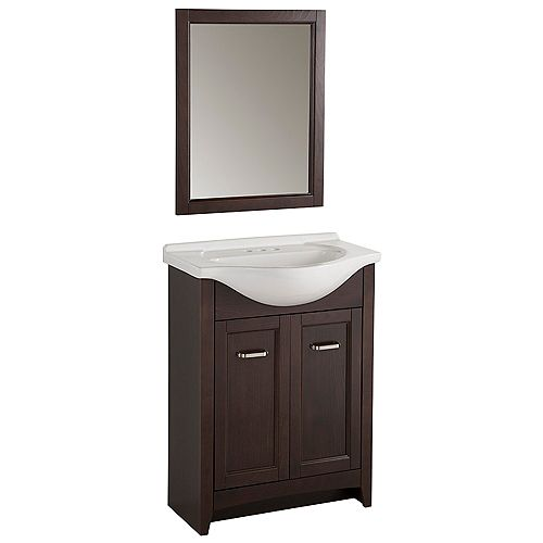 Glacier Bay 26.5-inch W 2-Door Freestanding Vanity in Brown With Ceramic Top in White With Mirror