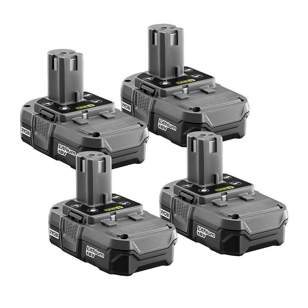 RYOBI ONE+ 18V 1.3Ah Lithium-Ion Compact Battery Pack (4-Pack)