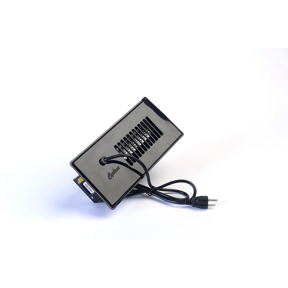 Cyclone Register Booster Fan Plus in Black with Built-In Thermostat