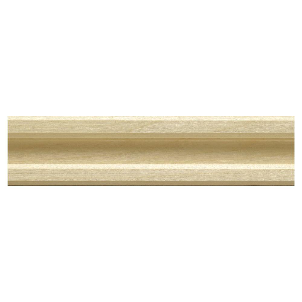 Ornamental Mouldings Moulure dencadrement rainurée à lavant en bois dur blanc - 3/4 x 2 x 48 pouces