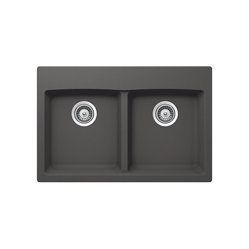 2-Bowl Dual Mount Kitchen Sink in Basalt