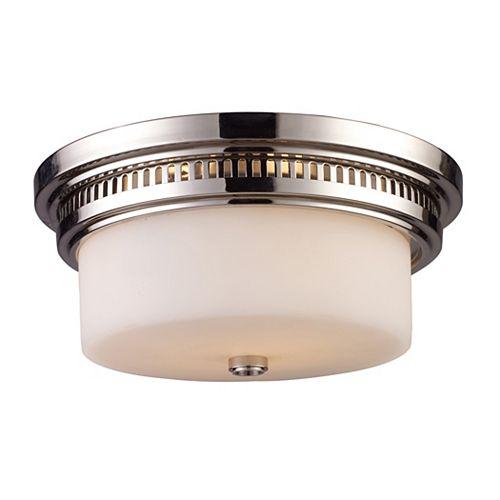 Titan Lighting Chadwick 2-Light Flush Mount In Polished Nickel