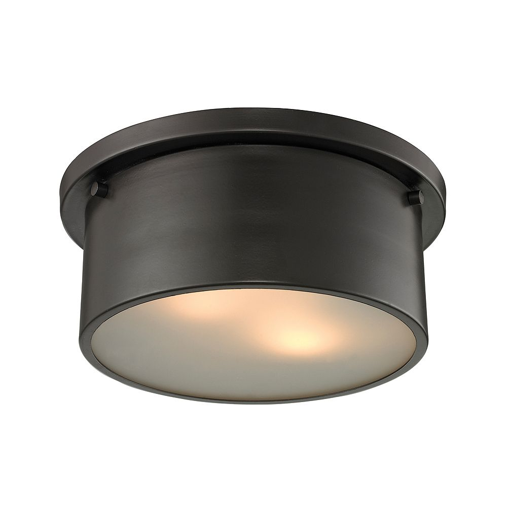 Titan Lighting Simpson 2 Light Flushmount In Oil Rubbed Bronze