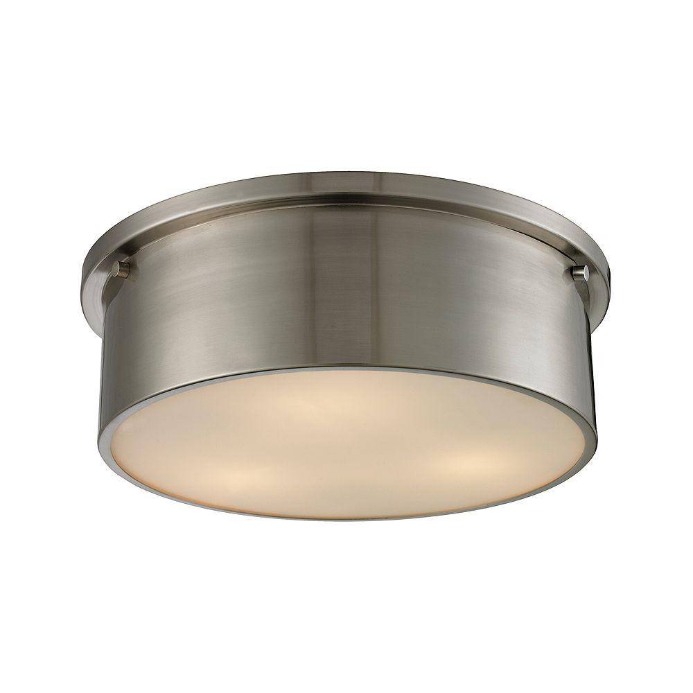 Titan Lighting Simpson 3 Light Flushmount In Brushed Nickel