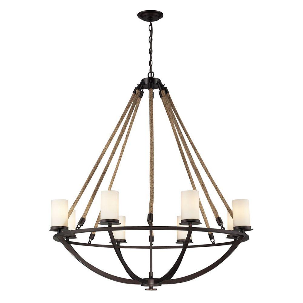 Titan Lighting Lustre à 8 ampoules Natural Rope au fini bronze vieilli