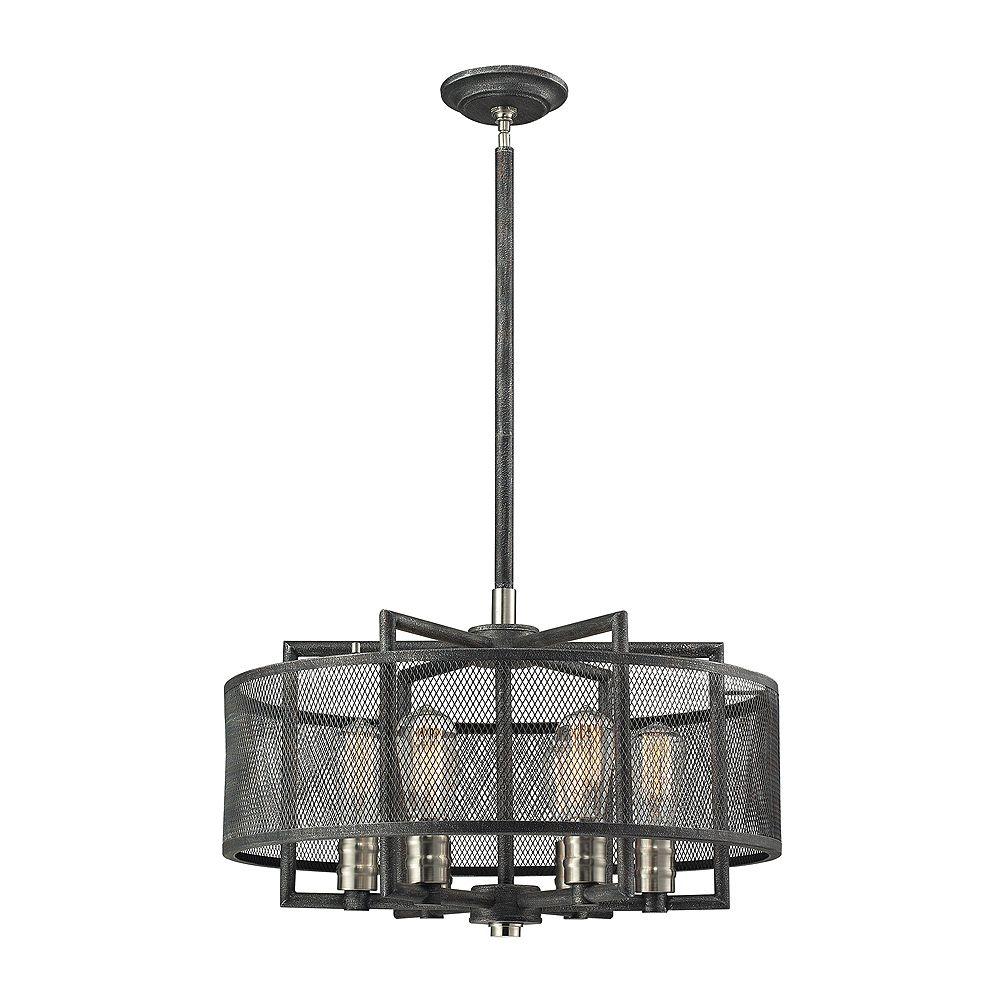 Titan Lighting Lustre à 6 ampoules Slatington au fini graphite argenté et nickel brossé