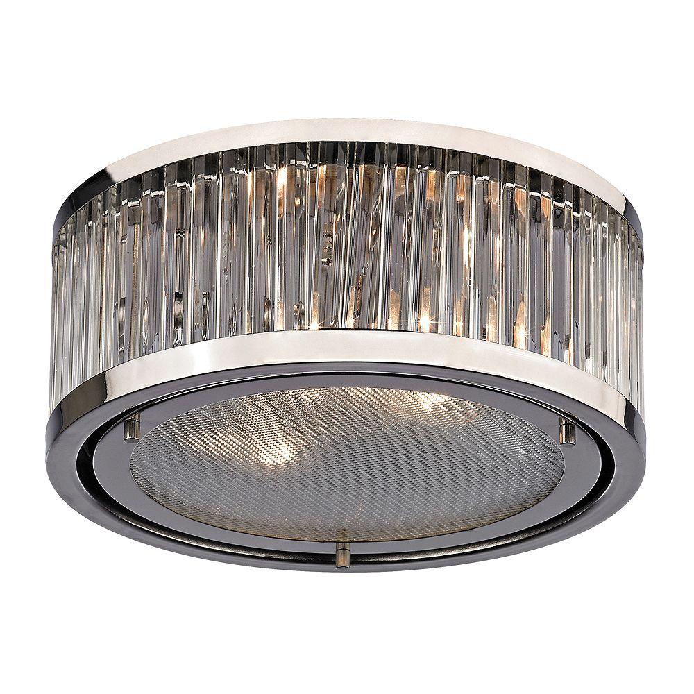 Titan Lighting Plafonnier à 2ampoules Linden au fini nickel poli