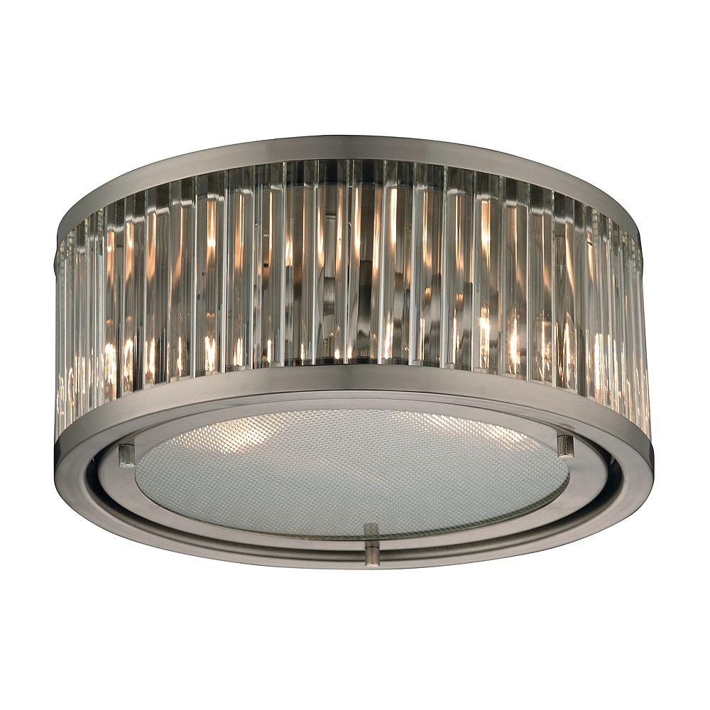 Titan Lighting Plafonnier à 2 ampoules Linden au fini nickel brossé