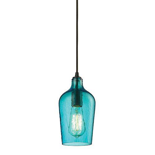 Mini luminaire suspendu à 1ampoule Hammered Glass au fini bronze huilé