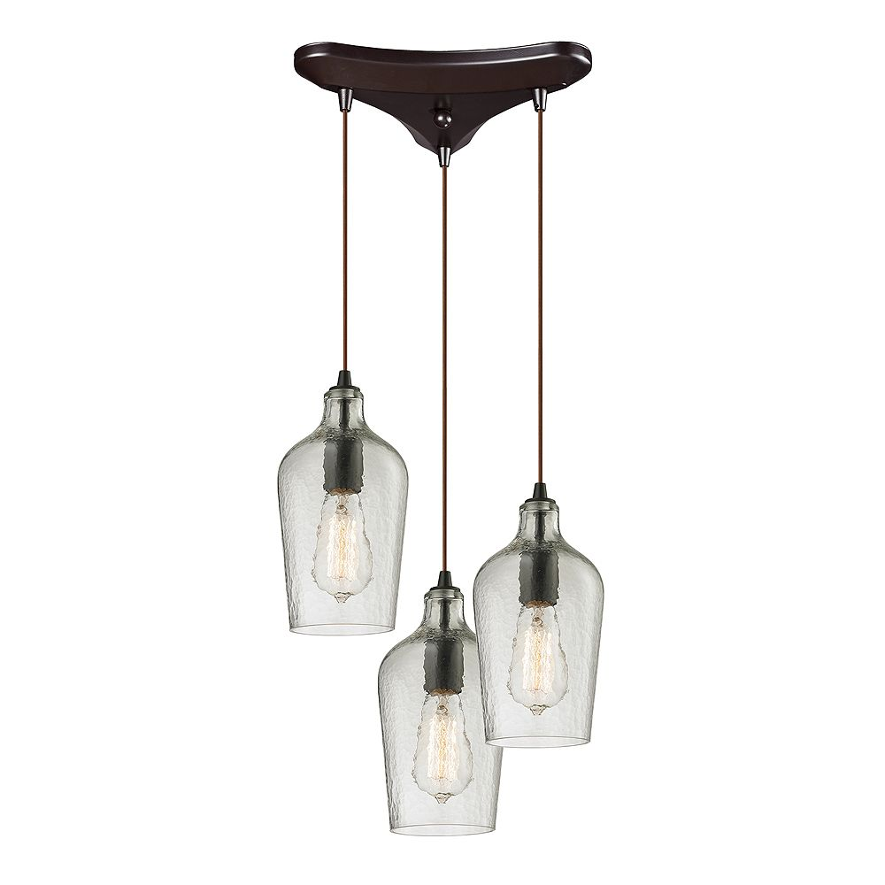 Titan Lighting Hammered Glass 3-Light Oil Rubbed Bronze With Clear Glass Pendant