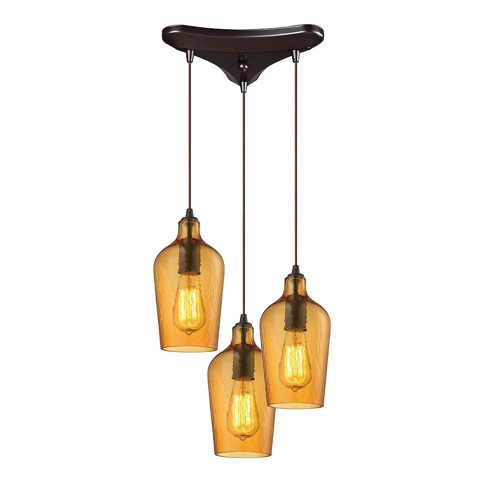 Titan Lighting Hammered Glass 3-Light Oil Rubbed Bronze With Amber Glass Pendant