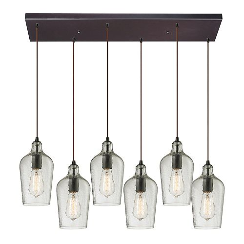 Hammered Glass 6-Light Rectangle In Oil Rubbed Bronze With Clear Glass Pendant