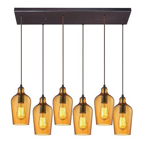 Lustre à 6ampoules Hammered Glass au fini bronze huilé