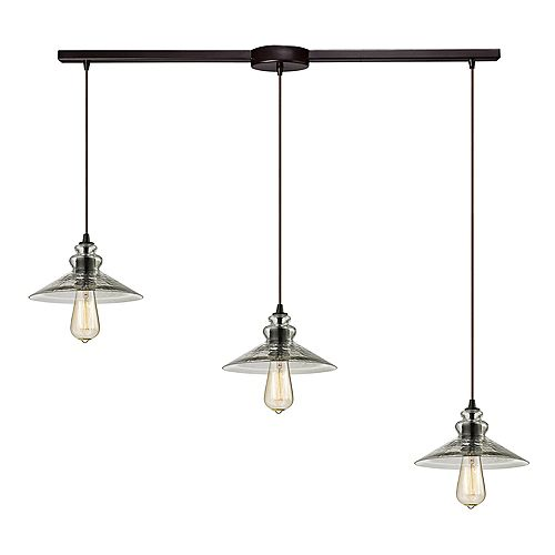 Titan Lighting Hammered Glass 3-Light Linear Bar In Oil Rubbed Bronze Pendant