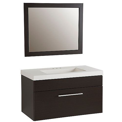 Boxwell 36.5-inch W 1-Drawer Freestanding Vanity in Brown With Ceramic Top in White With Mirror