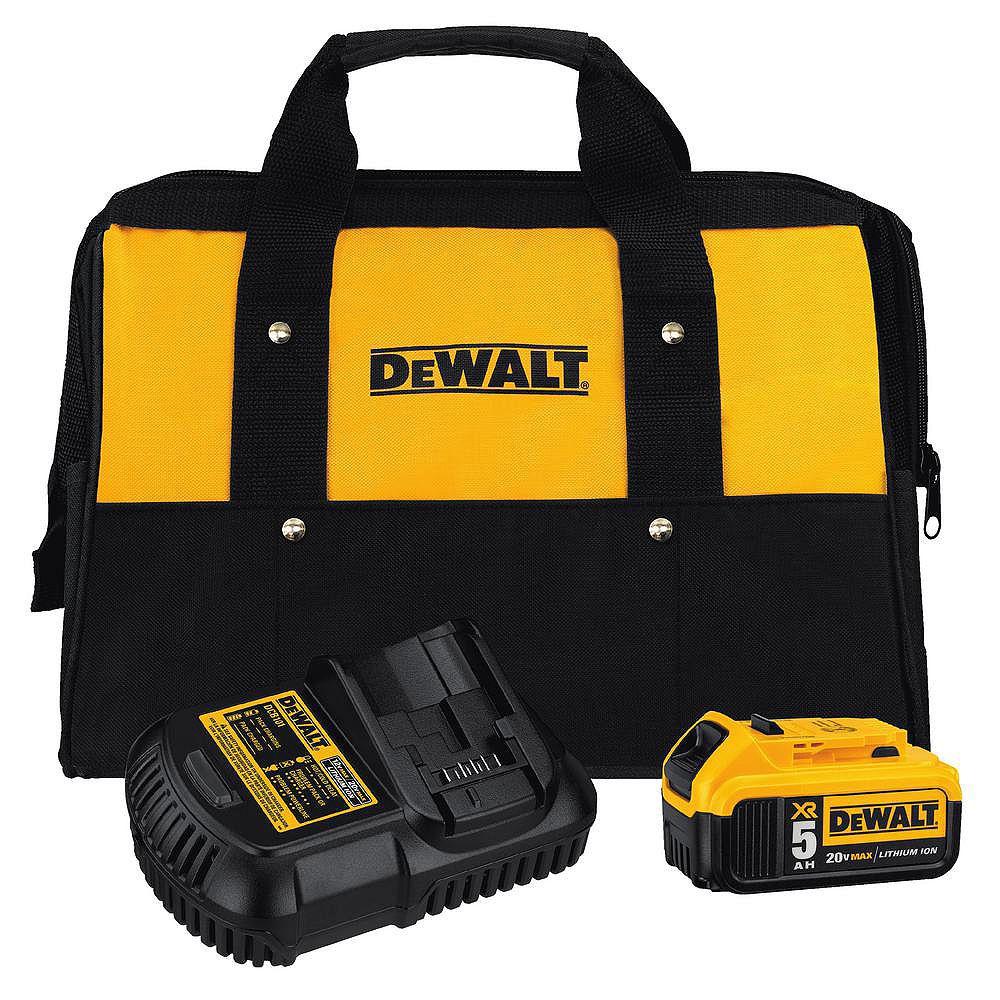 DEWALT 20V MAX XR Lithium-Ion Starter Kit with Premium Battery Pack 5.0Ah, Charger and Kit Bag