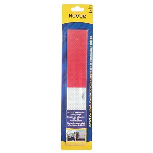 """NuVue Products Reflective Tape Red/White DOT-C2, 2"""""""" X 12"""""""" Strips 6"""""""" red / 6"""""""" white repeating pattern, (4-Pack)"""