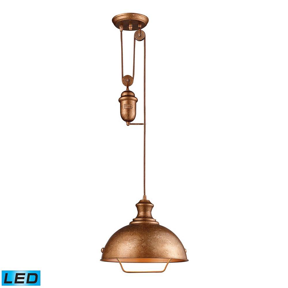 Titan Lighting Luminaire suspendu DEL Farmhouse au fini cuivre authentique