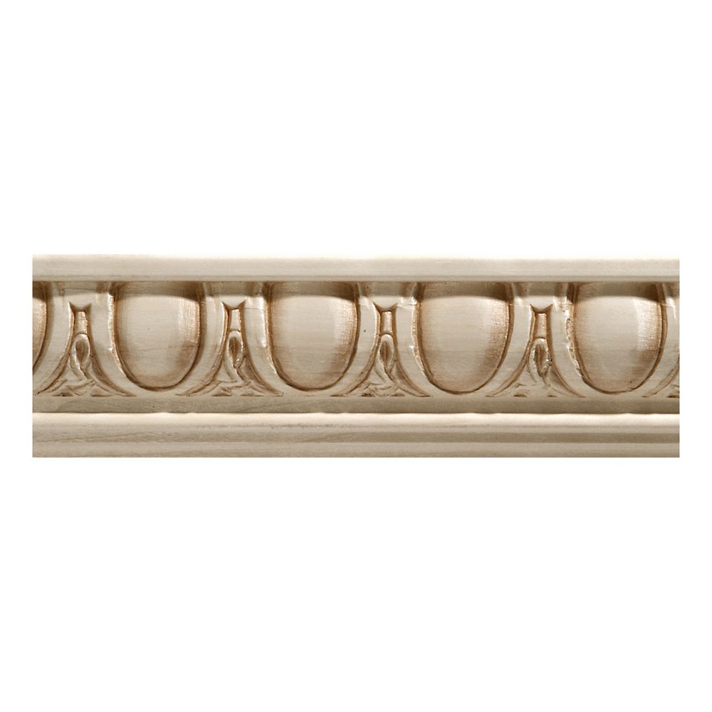 Ornamental Mouldings Cimaise à ove et fléchette en bois dur blanc - 27/32 x 2 1/4 x 96 pouces