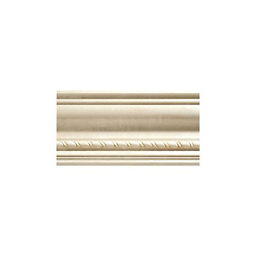 Blanche en bois dur, o'gee de moulures en corde - 1/2 X 3-3/4 po - vendu par pièce de 2,44 m