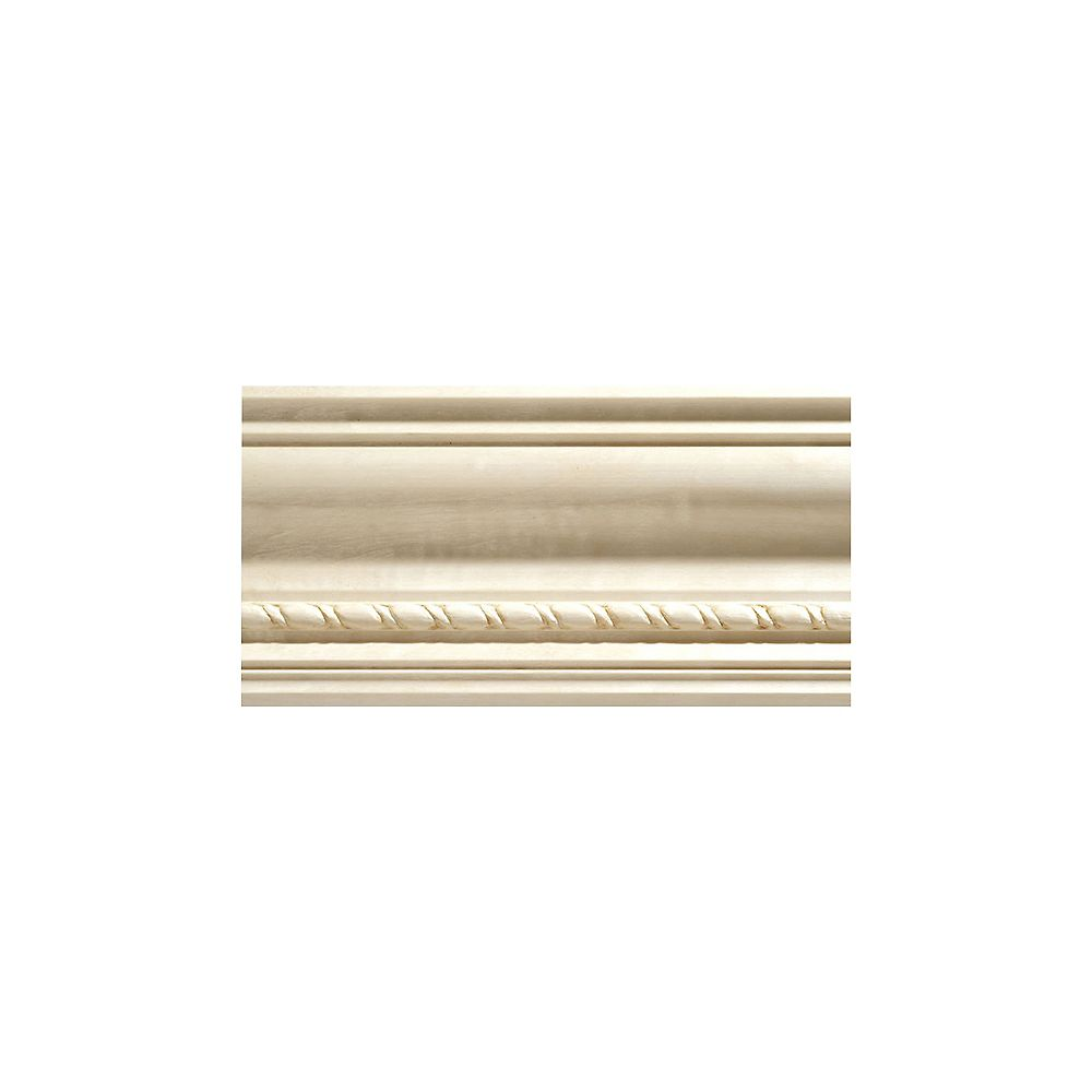 Ornamental Mouldings White Hardwood Rope Crown Moulding 1/2  Inch x 3-3/4 in x 8  Feet
