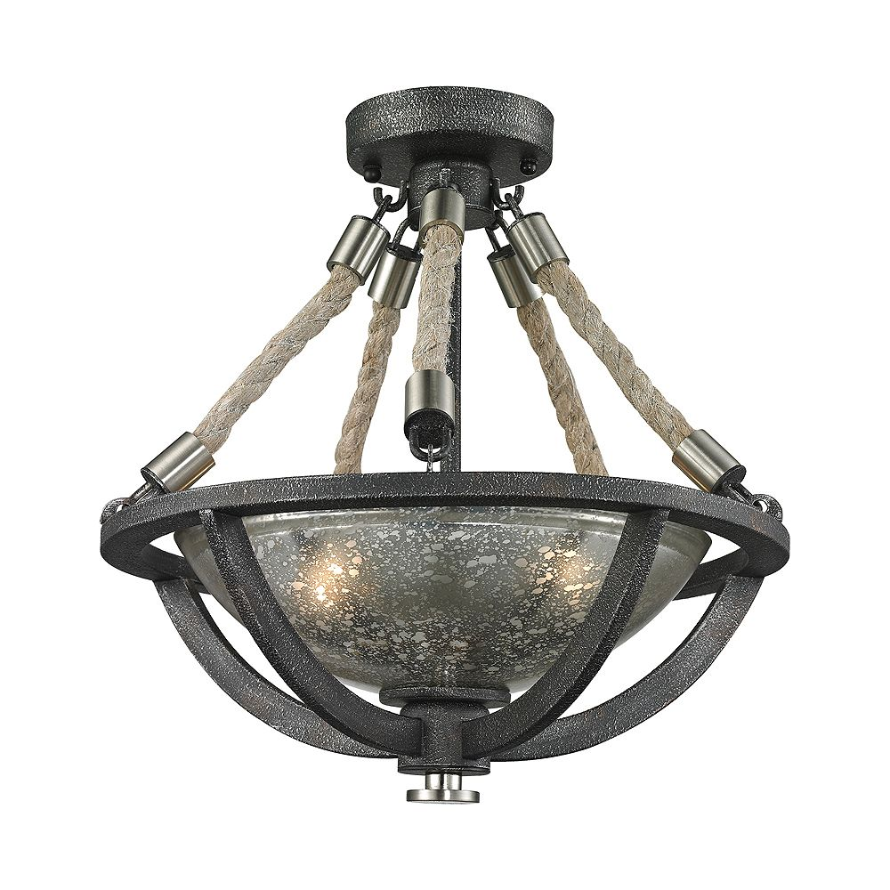 Titan Lighting Natural Rope 2 Light Pendant In Silvered Graphite/Polished Nickel Accents