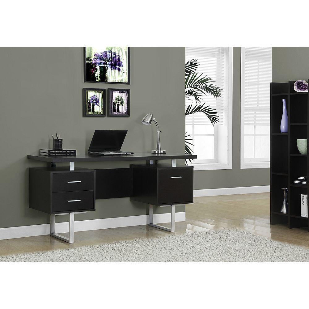 Monarch Specialties Computer Desk - 60 inch L / Cappuccino / Silver Metal