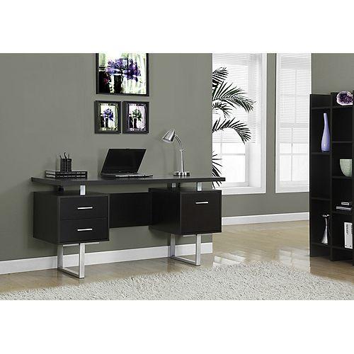 Computer Desk - 60 inch L / Cappuccino / Silver Metal