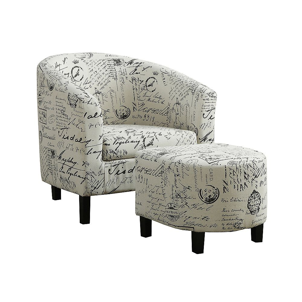 Monarch Specialties ACCENT CHAIR - 2-PIECE SET / UPHOLSTERED BARREL DESIGN ARMCHAIR WITH OTTOMAN - VINTAGE FRENCH PRINT