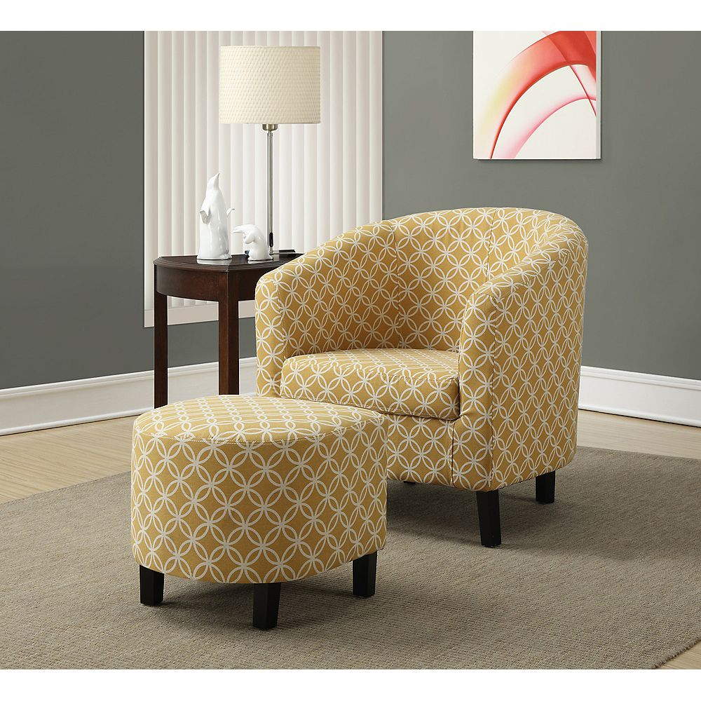 Monarch Specialties Contemporary Cotton Accent Chair in Yellow
