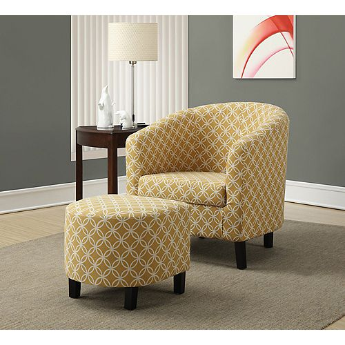 Contemporary Cotton Accent Chair in Yellow