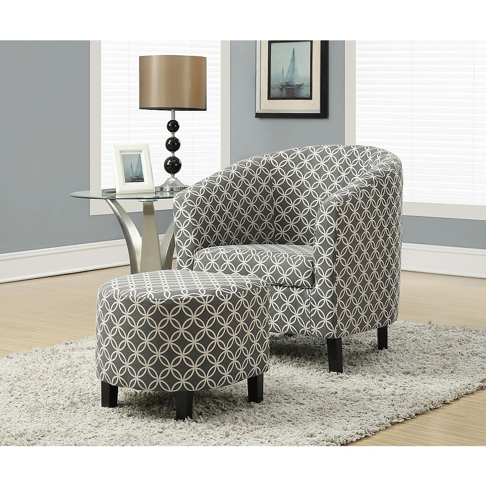 Monarch Specialties Contemporary Cotton Accent Chair in Grey