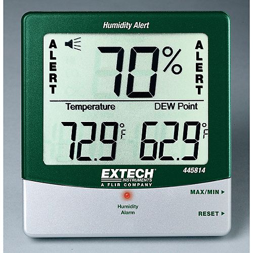 Extech Instruments Hydro-Thermometer Humidity Alert with Dew Point