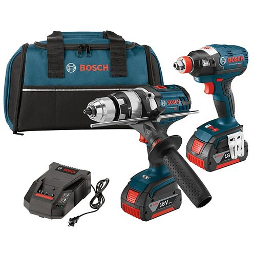 18 V 2-Tool Kit with EC Brushless 1/4 Inch and 1/2 Inch Socket-Ready Impact Driver and Brute Tough 1/2 Inch Hammer Drill/Driver