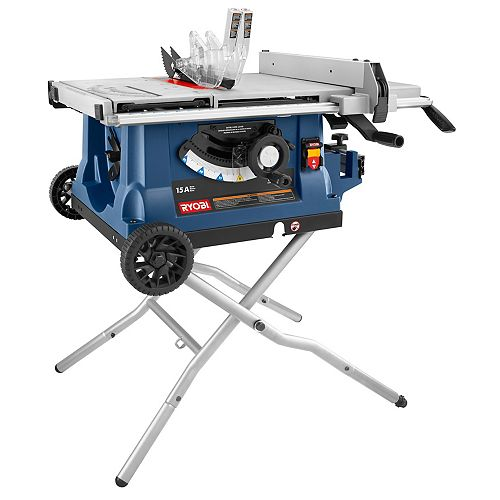 10-inch Portable Table Saw with Wheeled Stand