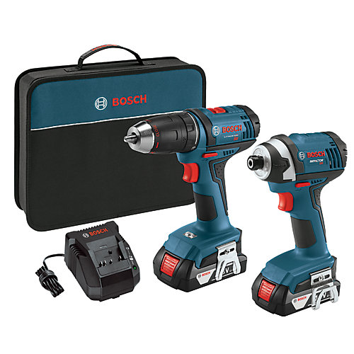18 V 2-Tool Combo Kit with 1/2 Inch Compact Drill/Driver and 1/4 Inch Hex Impact Driver