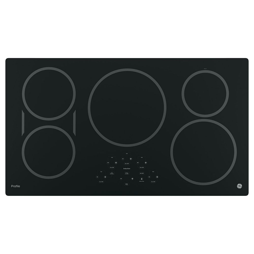 GE 36-inch W Electric Induction Cooktop with 5 Elements and Exact Fit in Black