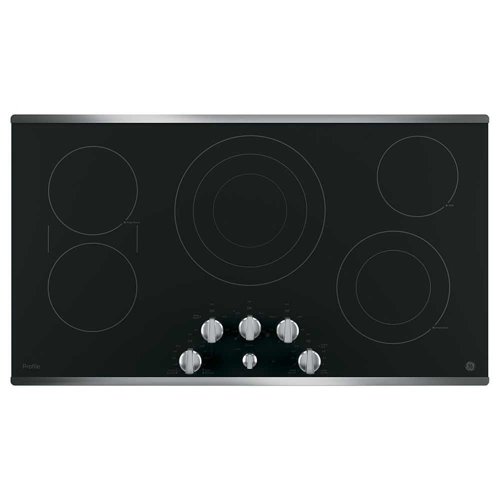 GE 36-inch W Radiant Electric Cooktop with 5 Elements with Rapid Boil in Stainless Steel