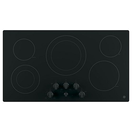 36-inch W Radiant Electric Cooktop with 5 Elements including Power Boil in Black