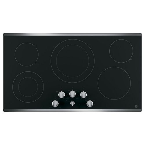 36-inch W Radiant Electric Cooktop with 5 Elements including Power Boil in Stainless Steel