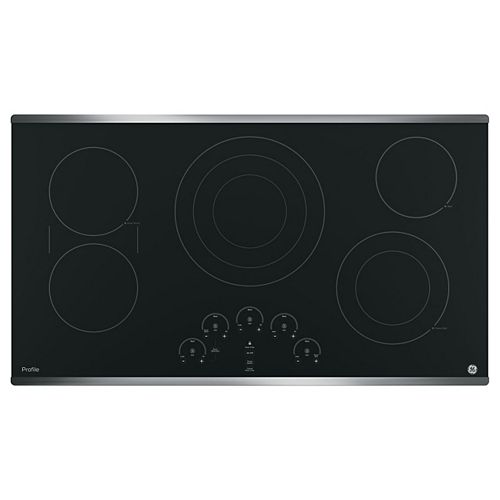 36-inch W Smoothtop Electric Cooktop with 5 Elements Including Tri-Ring Element in Stainless Steel