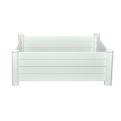 NuVue Products Boîte à jardinage surélevée, 48 po larg. x 48 po long. x 15 po haut., vinyle, blanc